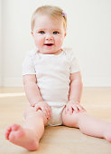 Caucasian baby sitting on floor