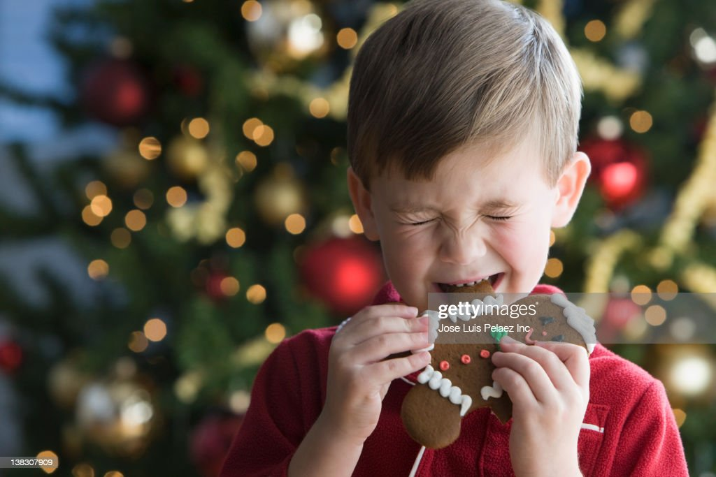 Caucasian boy in pajamas next to Christmas tree eating gingerbread cookie