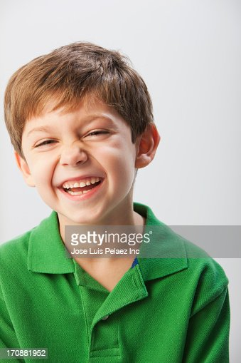 Caucasian boy laughing
