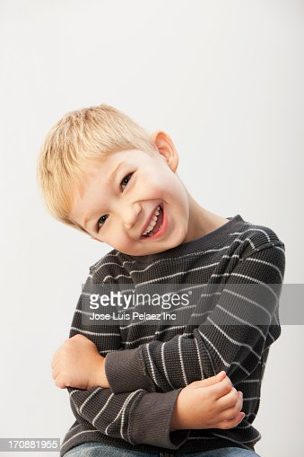 Caucasian boy laughing : Stock Photo