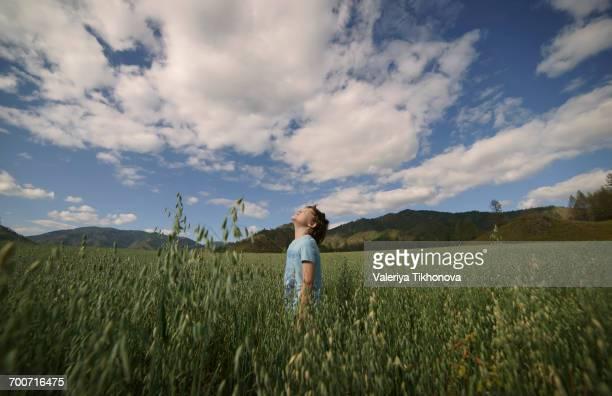 Caucasian boy standing in field looking up