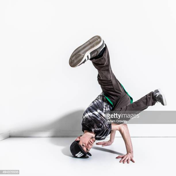 Caucasian break dancer