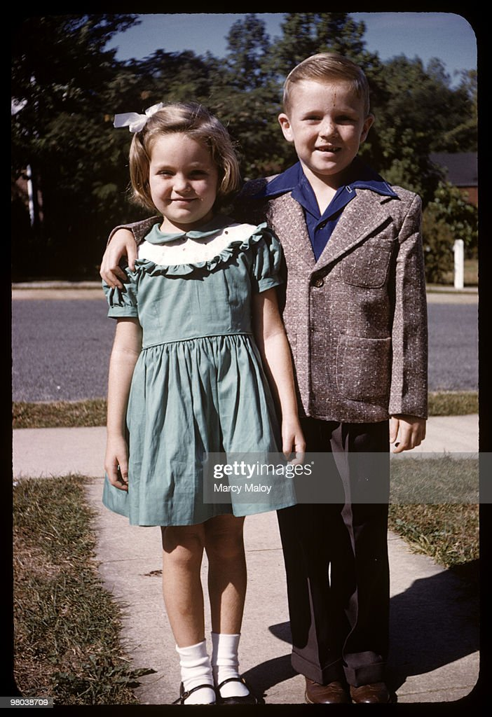 Caucasian brother and sister pose on Easter i : Stock Photo