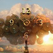 Caucasian businessman examining clock in sky