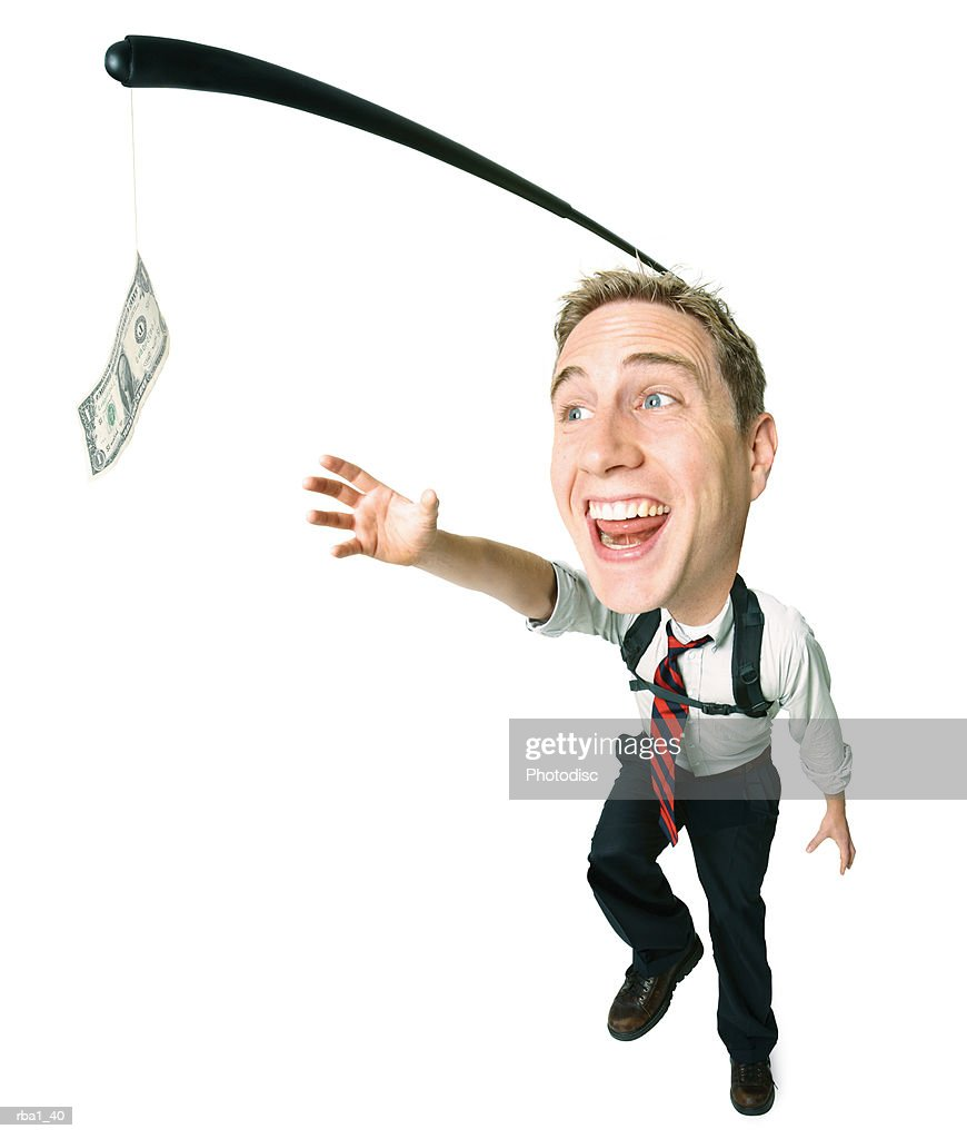 caucasian businessman in a shirt and tie runs and grabs for money he will never be able to reach