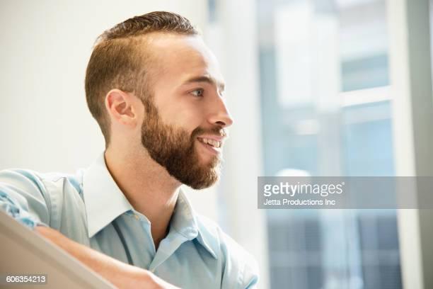 Caucasian businessman in office