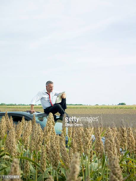Caucasian businessman sitting on top of car in field