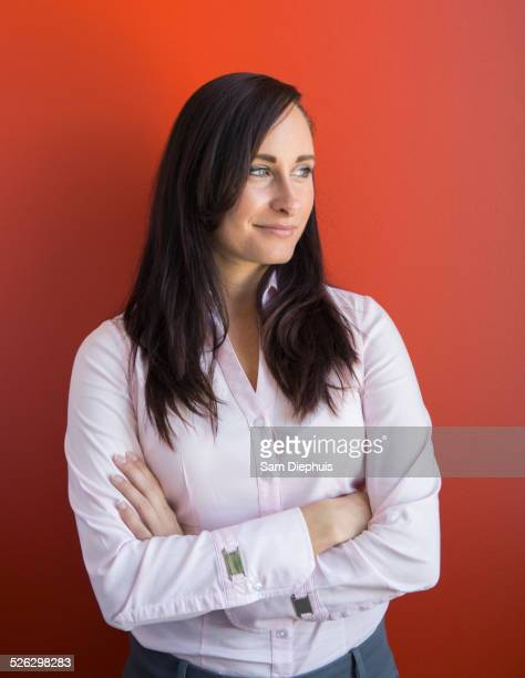 Caucasian businesswoman smiling