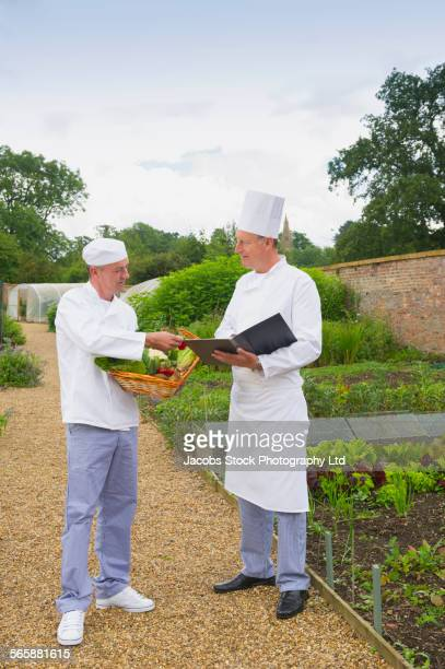 Caucasian chefs discussing menu in garden