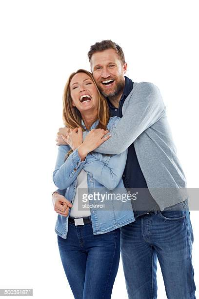 Caucasian couple laughing together