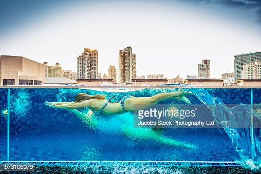 Singapore bikini stock photos and pictures getty images - Rooftop swimming pool in singapore ...