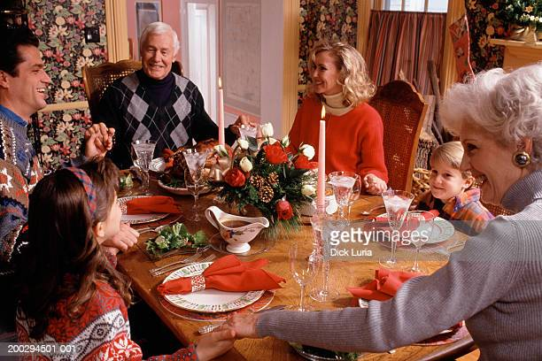 caucasian family at dinner table