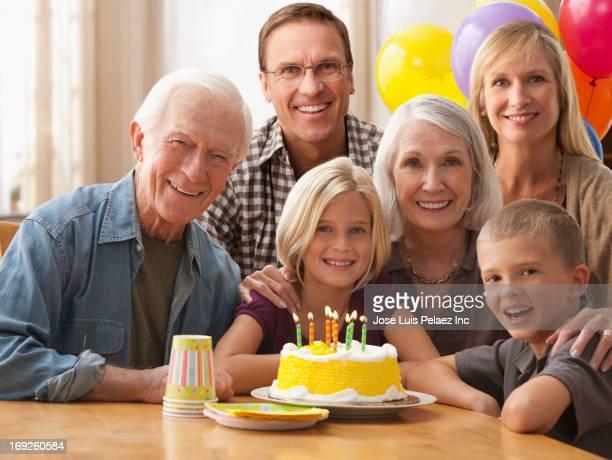 Caucasian family celebrating birthday