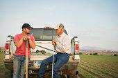 Caucasian farmers working in crop field