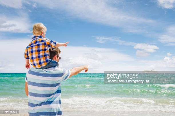 Caucasian father and son at beach pointing to distant cruise ship