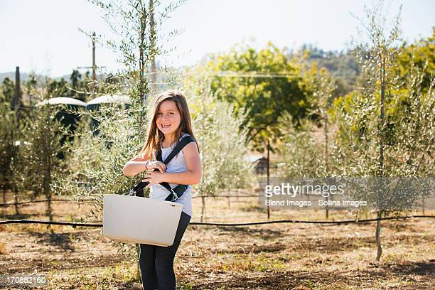 Caucasian girl carrying basket in olive grove