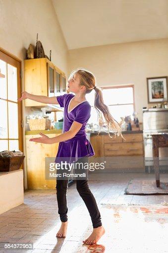 Caucasian Girl Dancing Kitchen Stock Getty