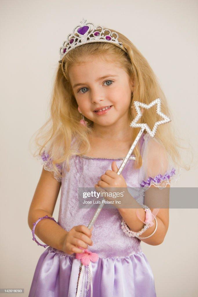 Caucasian girl dressed as princess : Stock Photo