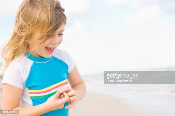 Caucasian girl enjoying beach