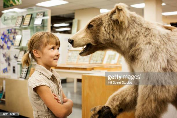 Caucasian girl examining stuffed bear in museum