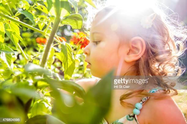Caucasian girl in garden