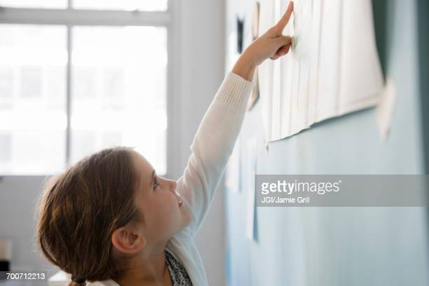 Caucasian girl pointing to paper on wall