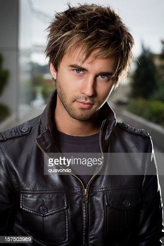 Caucasian Handsome Young Male Fashion Model Portrait, Copy Space