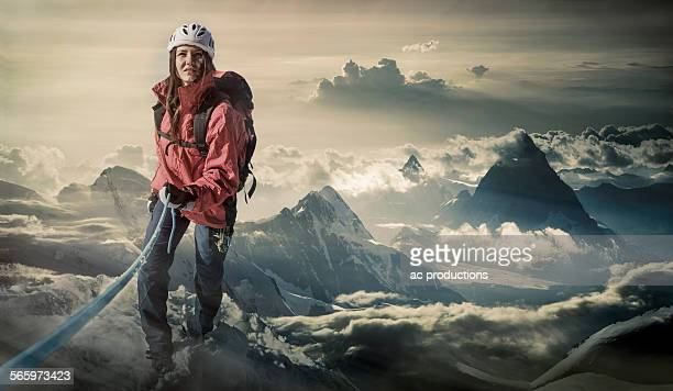 Caucasian hiker climbing mountain, Monte Rosa, Alps, Italy