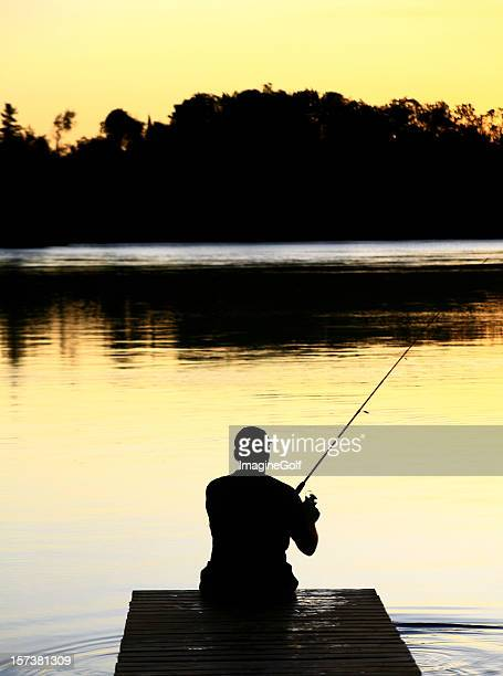 Caucasian Man Fishing Silhouette