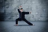 Caucasian man practicing martial arts
