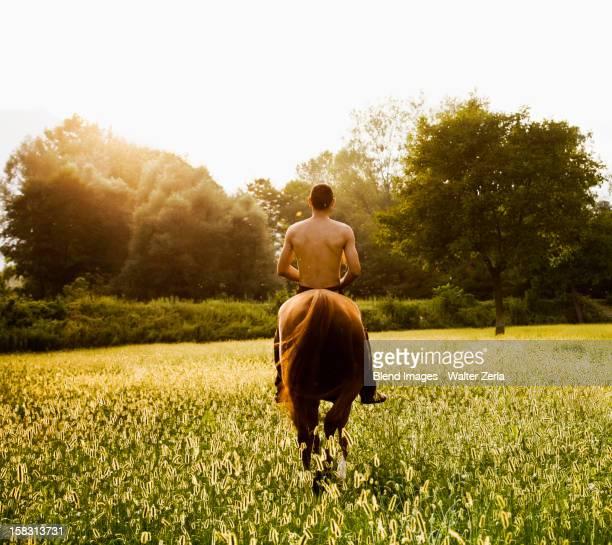 Caucasian man riding horse in field