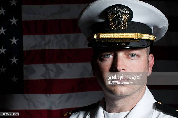 Caucasian Naval Officer In Dress Whites Uniform