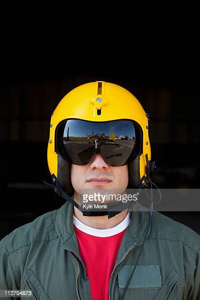 Caucasian pilot in helmet