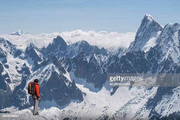 Caucasian skier on mountaintop, Mont Blanc, Chamonix, France