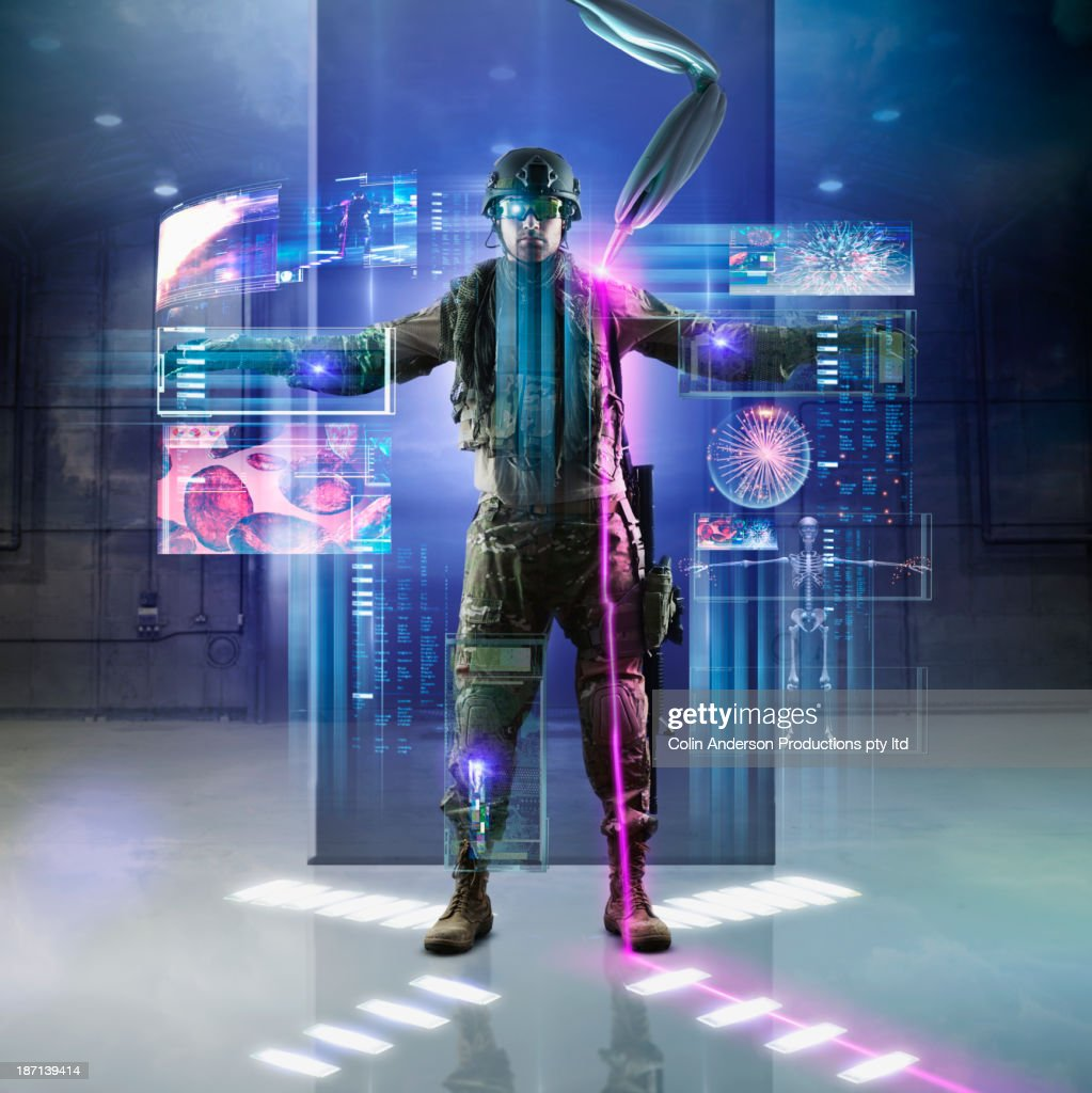Caucasian soldier using holographs : Stock Photo