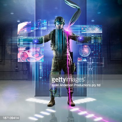 Caucasian soldier using holographs
