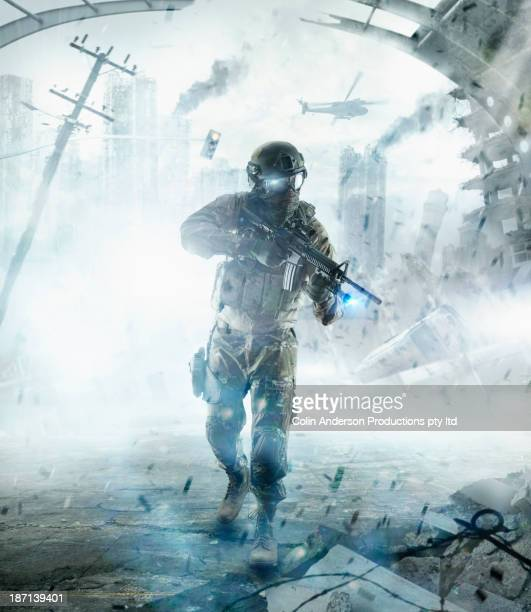 Caucasian soldier walking into combat zone