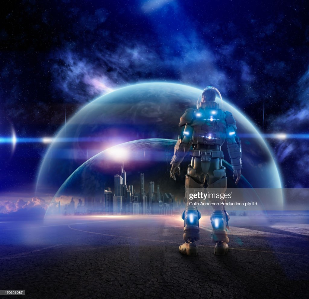 Caucasian soldier wearing glowing armor