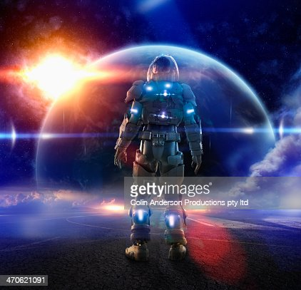 Caucasian soldier wearing glowing armor