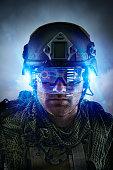 Caucasian soldier wearing helmet