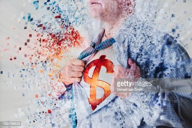 Caucasian superhero opening shirt exposing dollar sign