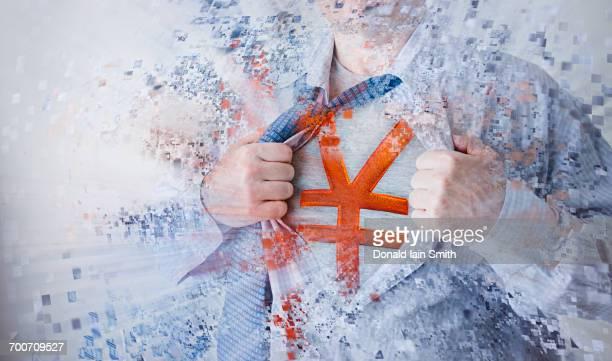 Caucasian superhero opening shirt exposing yuan symbol