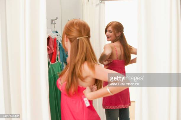 Caucasian teenage girl in dressing room