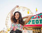 Caucasian woman enjoying carnival