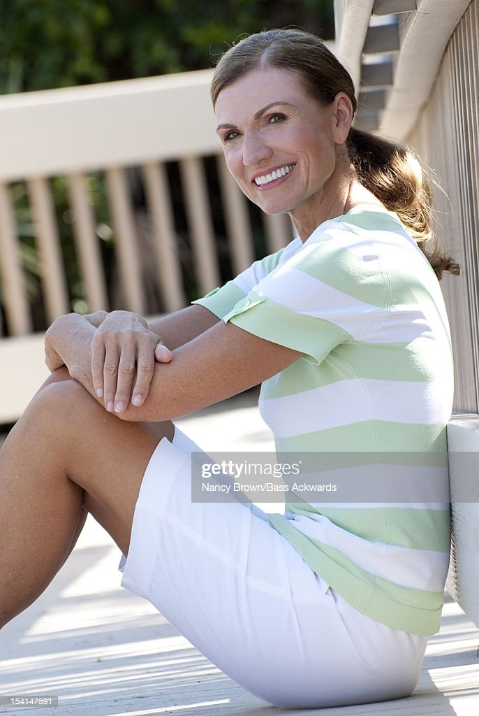 Caucasian Woman in Fifties Lifestyle. : Stock Photo