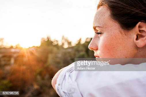 Caucasian woman overlooking landscape