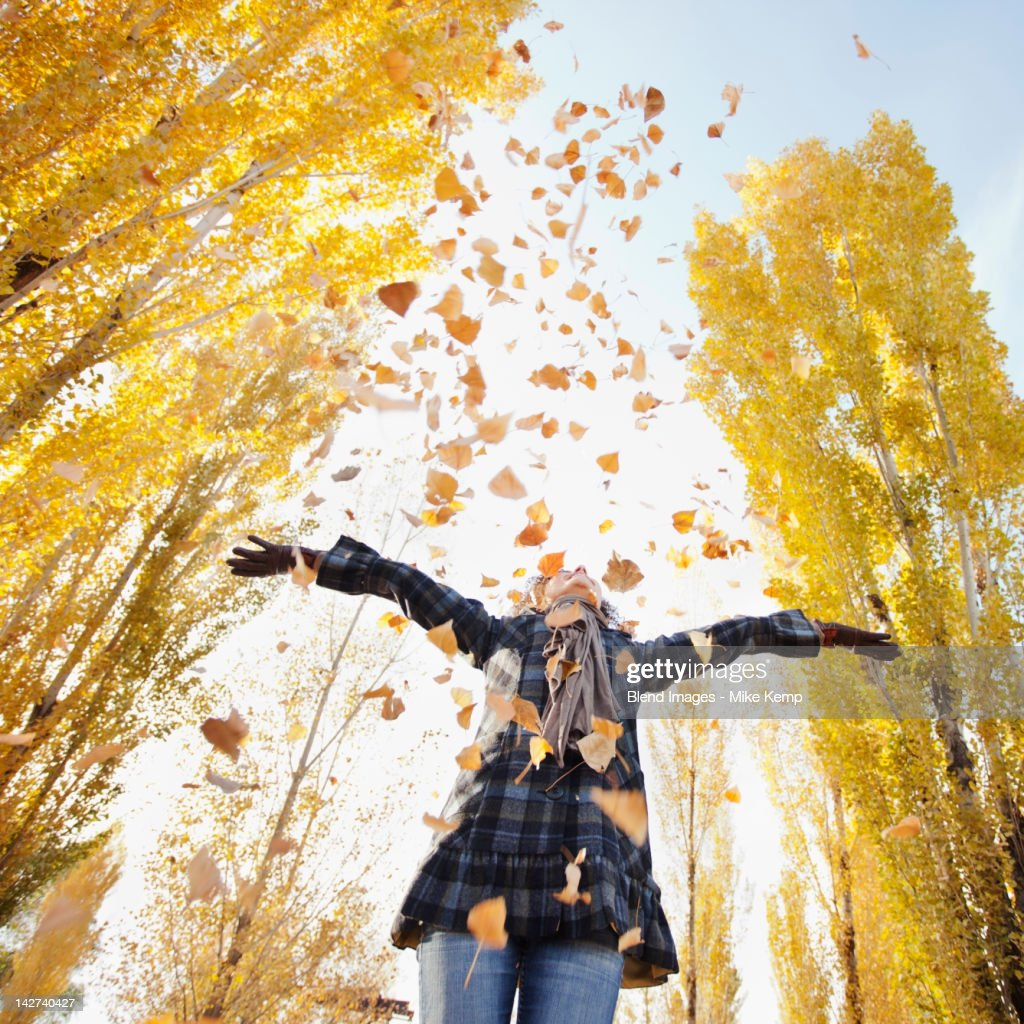 Caucasian woman playing with autumn leaves : Stock Photo