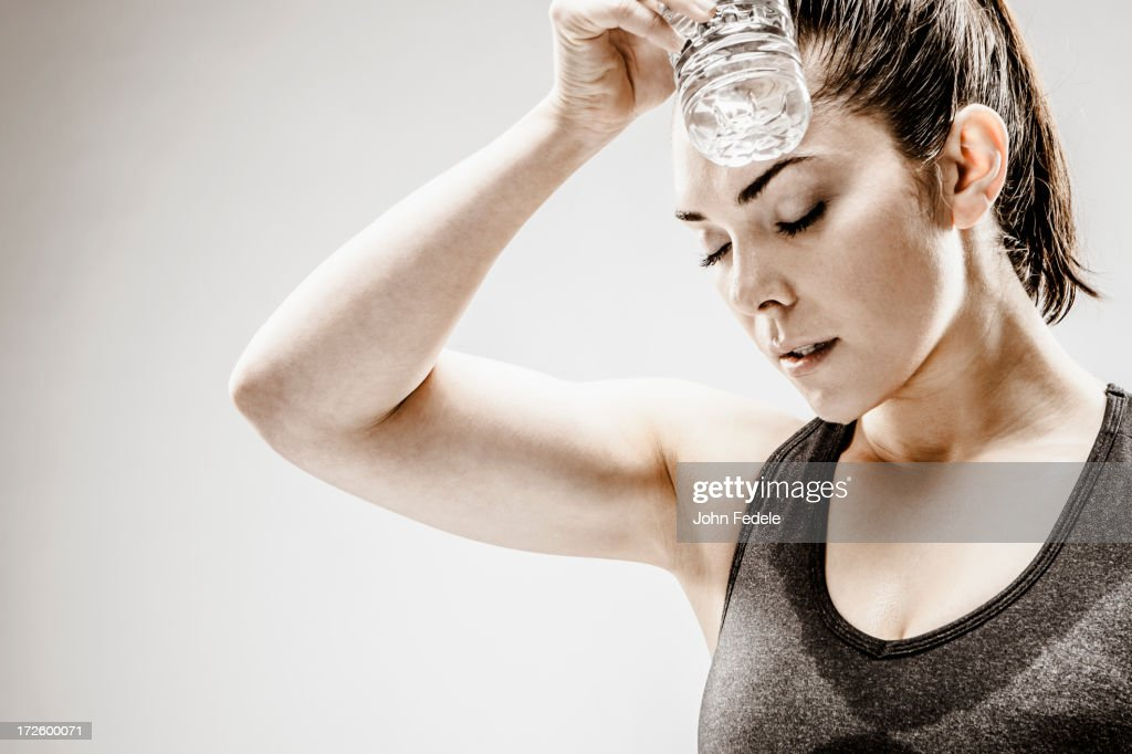 Caucasian woman resting after workout : Foto stock