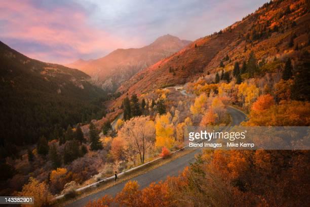 Caucasian woman running along autumn road