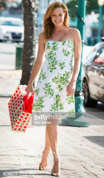 Caucasian woman shopping on city street